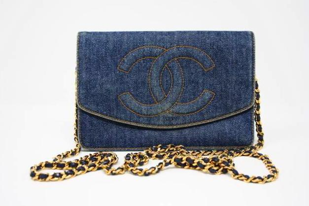 Vintage Chanel Denim WOC Wallet on a chain bag