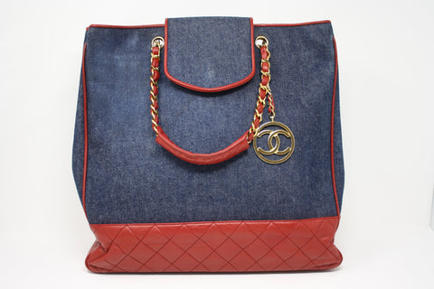 Vintage CHANEL Denim Tote Bag