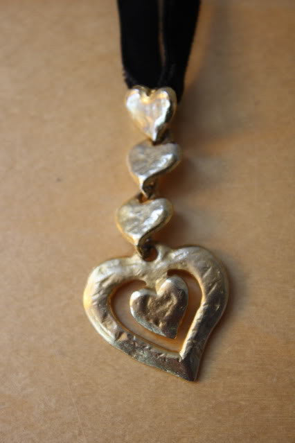 Vintage YVES SAINT LAURENT Gold 5 Heart Pendant on Black Velvet Ribbon Necklace