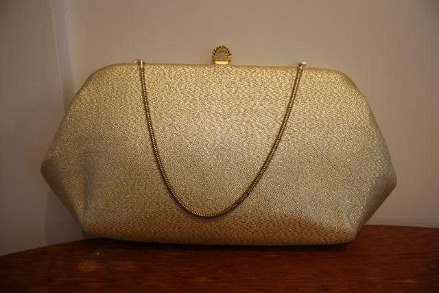 Vintage 60's HARRY LEVINE Gold Lame Convertible Handbag to Clutch with Rhinestone Clasp