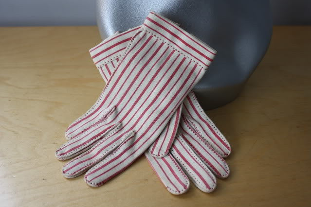 Vintage 50's Wear Right For HERMES Pink & White Striped Gloves