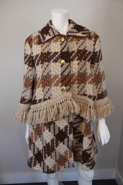 Vintage 70's VALENTINO Woven Plaid Wool Coat with Amazing Fringe & Gold Turtle Buttons