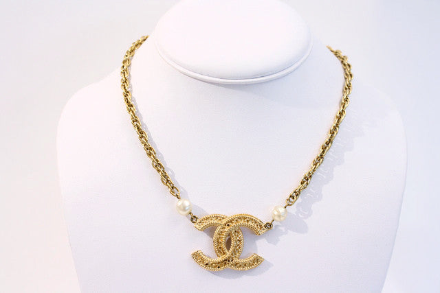 Vintage Chanel Logo Necklace