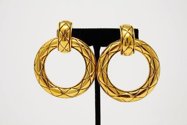 Vintage CHANEL Large Gold Hoop Earrings