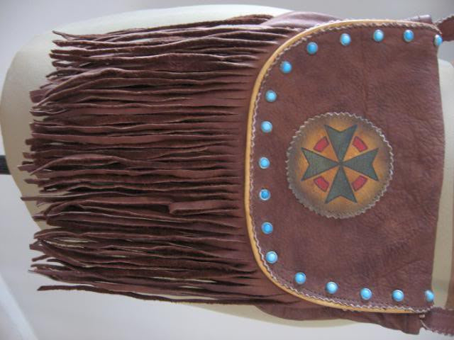 Vintage 70's Fringed Leather Handbag with Native American Influence