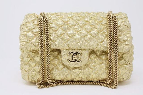 Rare Limited Edition CHANEL 08C Gold Double Flap Handbag