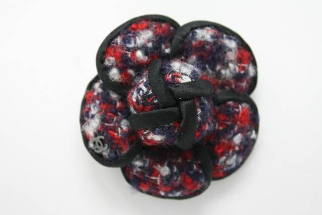 Chanel 2015 Tweed Satin Camellia Flower Brooch