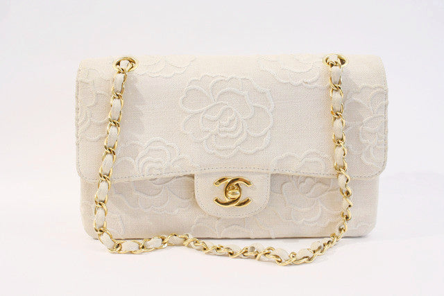 Vintage Chanel Camellia Flower Double Flap Bag
