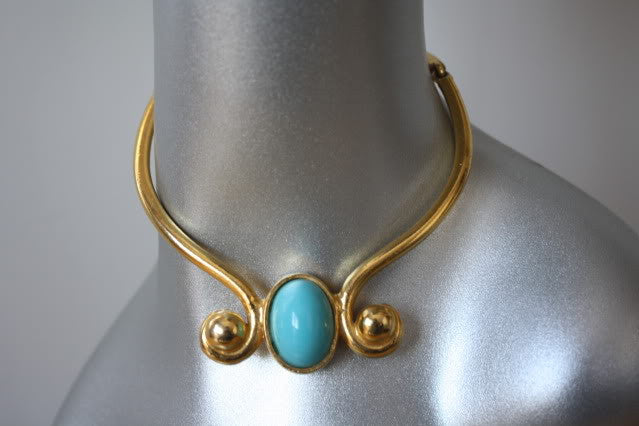 Vintage 70's DONALD STANNARD Brass & Turquoise Choker Necklace