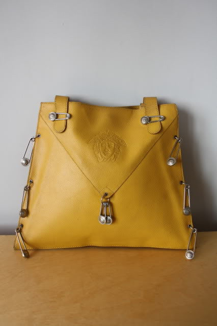 RARE Early 90's GIANNI VERSACE Yellow Leather Safety Pin Handbag with Embossed Versace Icon