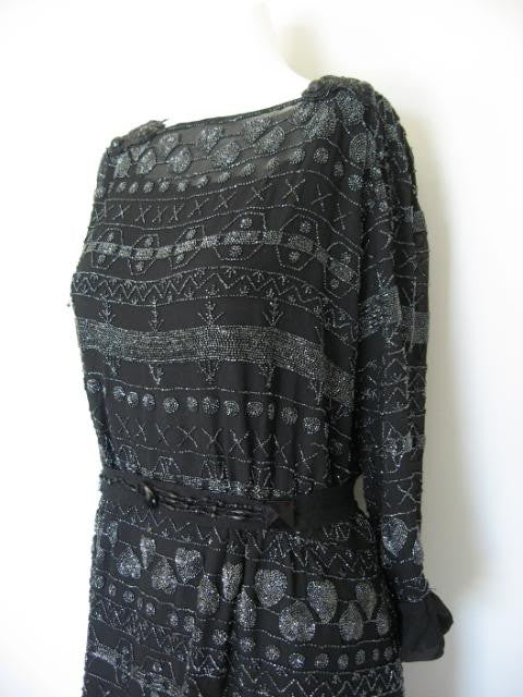 Vintage 20's Black Heavily Beaded Silk Chiffon Flapper Dress from the Estate of Vera d'Angara Silent Movie Actress