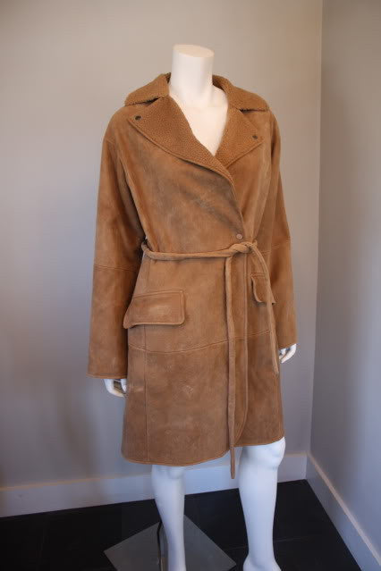 New with Tags BOTTEGA VENETA Light Brown Soft Shearling Coat with Optional Belt