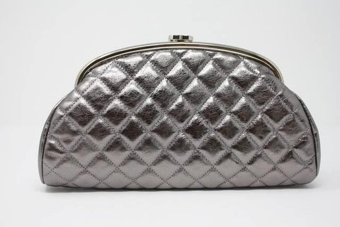 CHANEL Metallic Pewter Leather Timeless Clutch