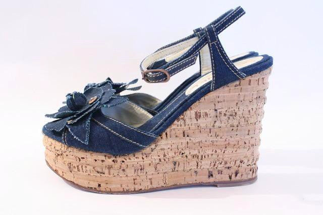 Vintage Chanel Denim Wedge Heels