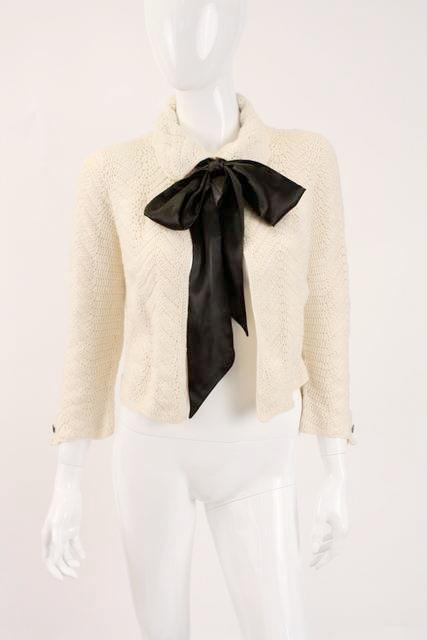 Vintage Chanel Crochet Sweater bow