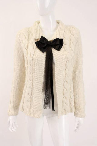 Vintage CHANEL 98P Cable Knit Sweater w/Bow
