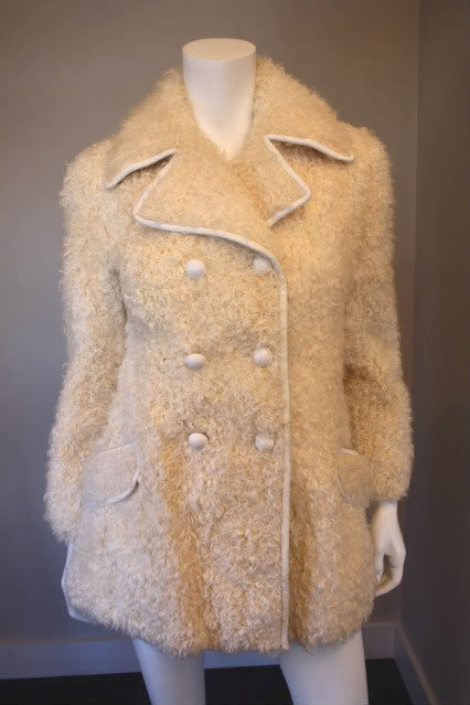 Vintage 60's I. MAGNIN Off White Curly Lamb Fur Double Breasted Coat with White Leather Trim & Buttons