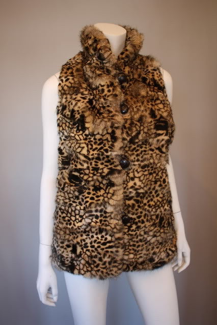 "Vintage Dyed ""Animal Print"" Genuine Fox Fur Vest with Leather Buttons"