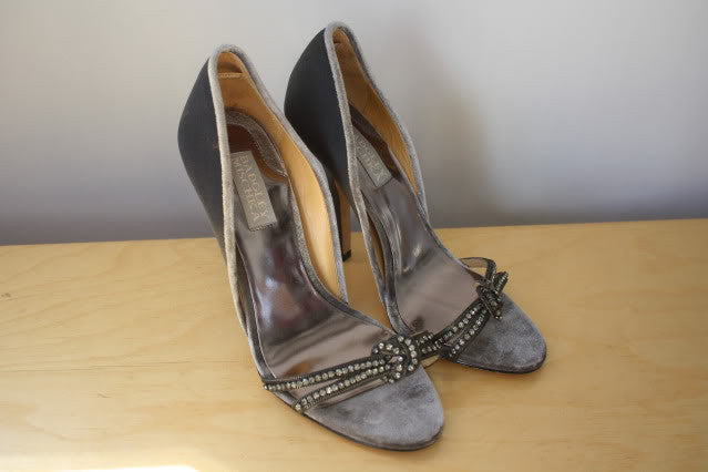 BADGLEY MISCHKA Silver Satin Open Toe Pump Trimmed in Silver Velvet & Rhinestone Vamps, Size 6.5