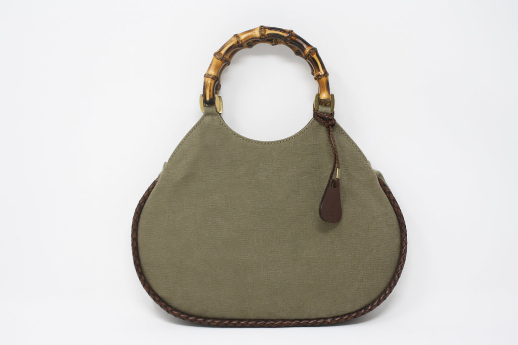 GUCCI Army Green Canvas Bag With Bamboo