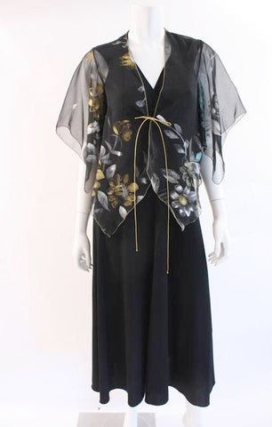 Vintage 70's Maxi Dress w/Hand Painted Jacket