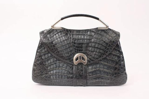 Vintage 70's Crocodile Top Handle Bag or Clutch