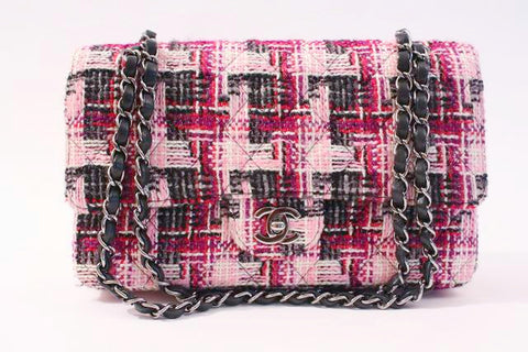 CHANEL Pink Tweed Double Flap Handbag
