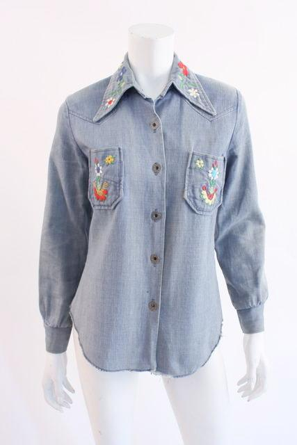 Vintage 70's Embroidered Denim Shirt