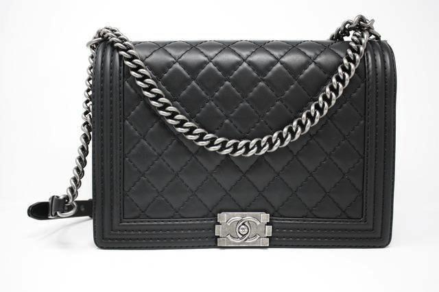 Chanel Large black quilted boy bag