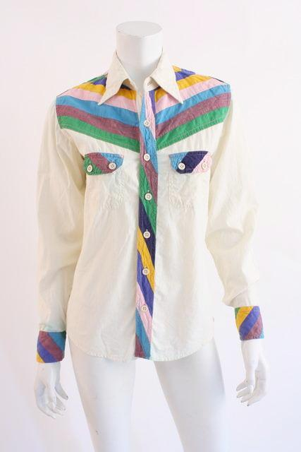 Vintage 70's Rainbow Cotton Shirt