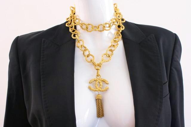 Vintage Chanel Chain Link Logo Belt Necklace