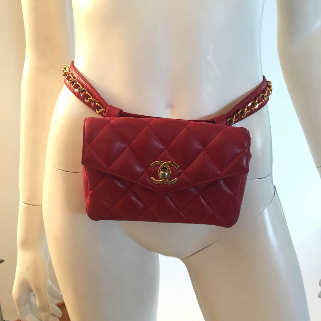 Private Listing: Vintage Chanel Red Waist Bag
