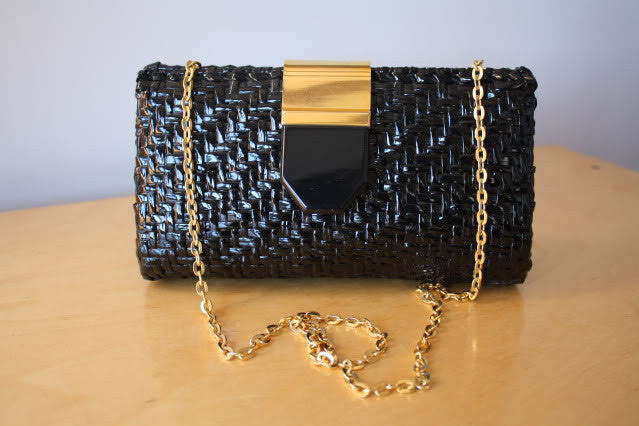 Vintage ITALIAN Black Lacquered Woven Wicker Clutch or Shoulder Bag with Gold & Lucite Hardware