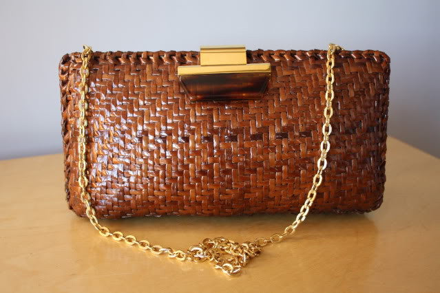Vintage ITALIAN Brown lacquered Woven Wicker Clutch or Shoulder Bag with Gold & Lucite Hardware