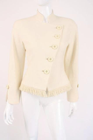Vintage 80's DIOR Cream Jacket with Fringe