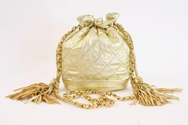 8f69de1ed5ce57 Rare Vintage CHANEL Gold Metallic Bag at Rice and Beans Vintage