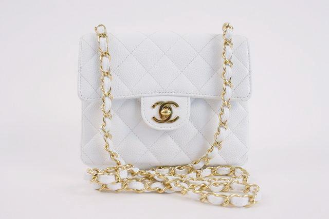Vintage Chanel white caviar flap bag