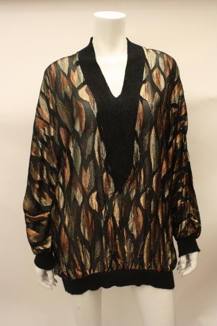 1980s Metallic Sheer Dress or Tunic