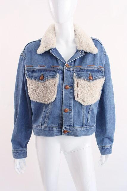 Vintage Denim Sherpa Sheepskin Jacket