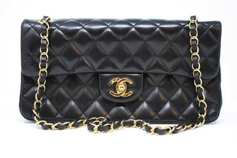 CHANEL Black Lambskin East West Flap Bag