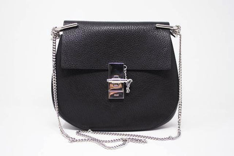 New CHLOE Black Grained Leather Drew Bag