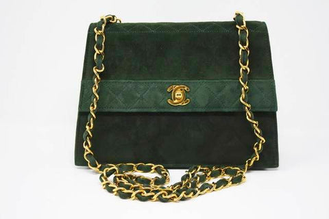 Rare Vintage CHANEL Green Flap Bag