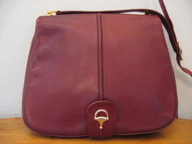 Vintage 70's GUCCI Burgundy Leather Equestrian Handbag with Horsebit Closure & Piston Accents