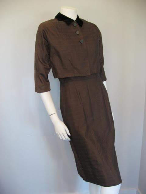 Vintage Late 40's Early 50's IVAN FREDERICS Brown Dress & Cropped Jacket Set
