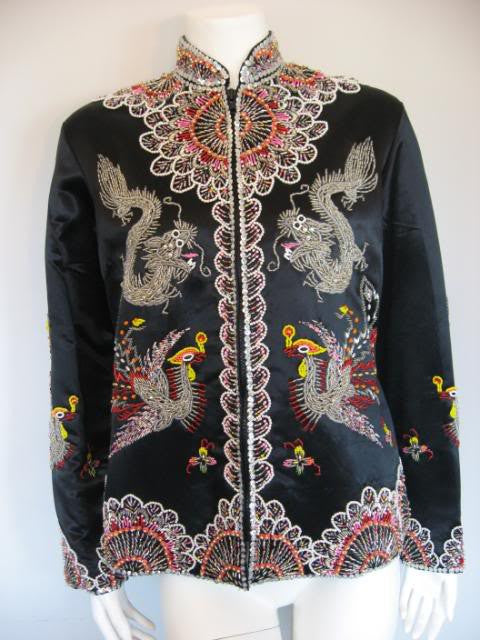 Vintage 60's DYNASTY Black Silk Hand Beaded Jacket with Dragon & The Phoenix