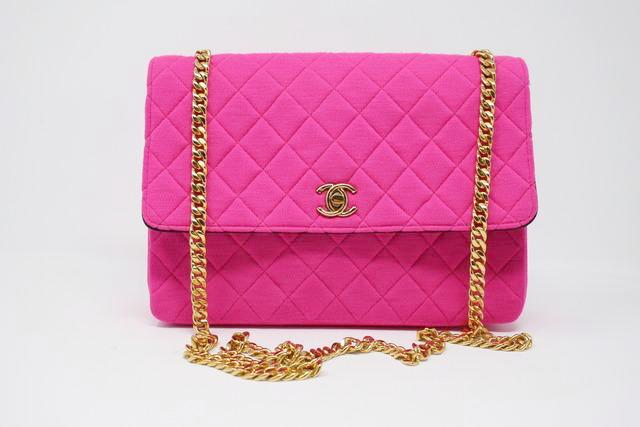 a34977cf46b4 Rare Vintage CHANEL Hot Pink Flap Bag at Rice and Beans Vintage