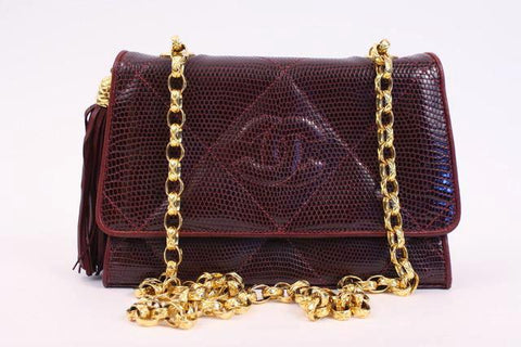 Rare Vintage CHANEL Merlot Lizard Flap Bag