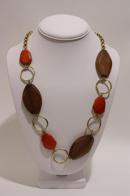 Vintage 70's Wood and Lucite Necklace