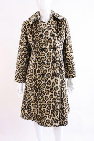 Vintage 60's SAFARI Leopard Faux Fur Coat