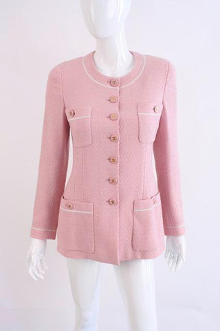 Vintage CHANEL Pink Jacket with Logo Buttons